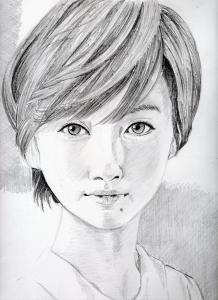波瑠の鉛筆画似顔絵