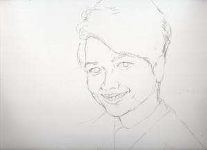 山崎育三郎の鉛筆画似顔絵途中経過
