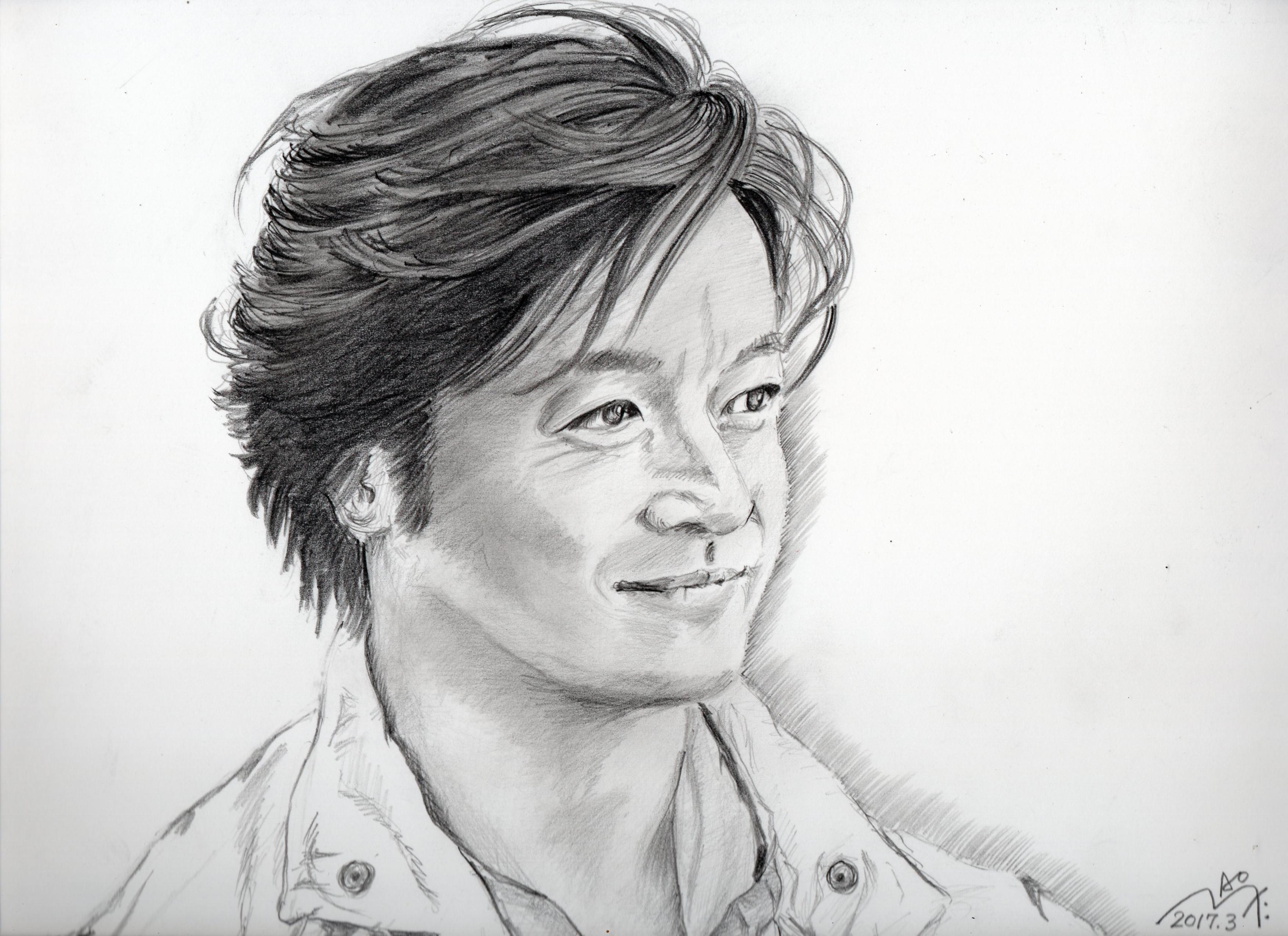 石丸 幹二の鉛筆画似顔絵