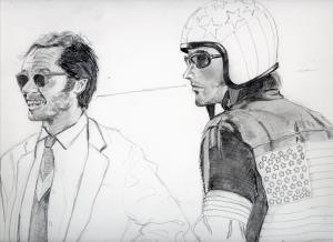 『イージーライダー』ジャック・ニコルソンとピーター・フォンダの鉛筆画似顔絵途中経過