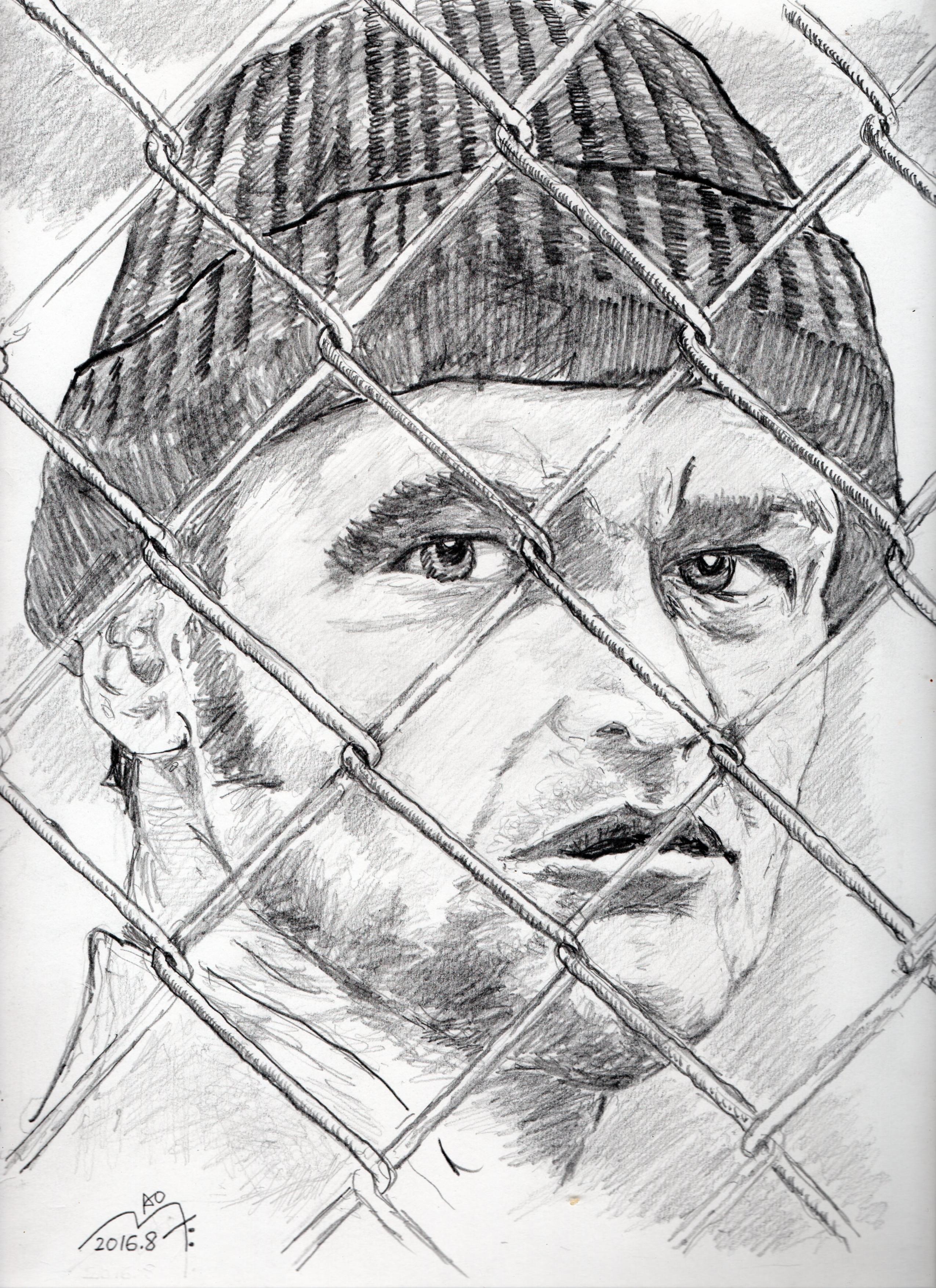 『カッコーの巣の上で』ジャック・ニコルソンの鉛筆画似顔絵