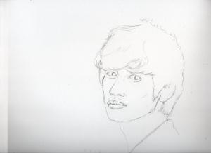 青山卓矢の鉛筆画似顔絵途中経過