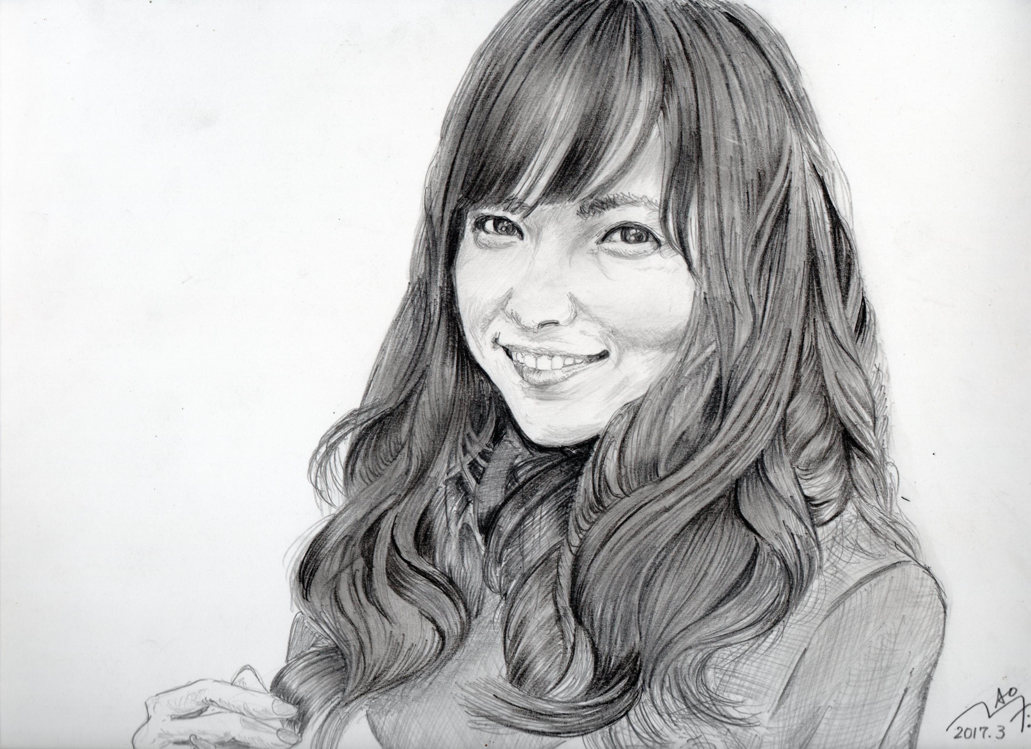 石川恋の鉛筆画似顔絵