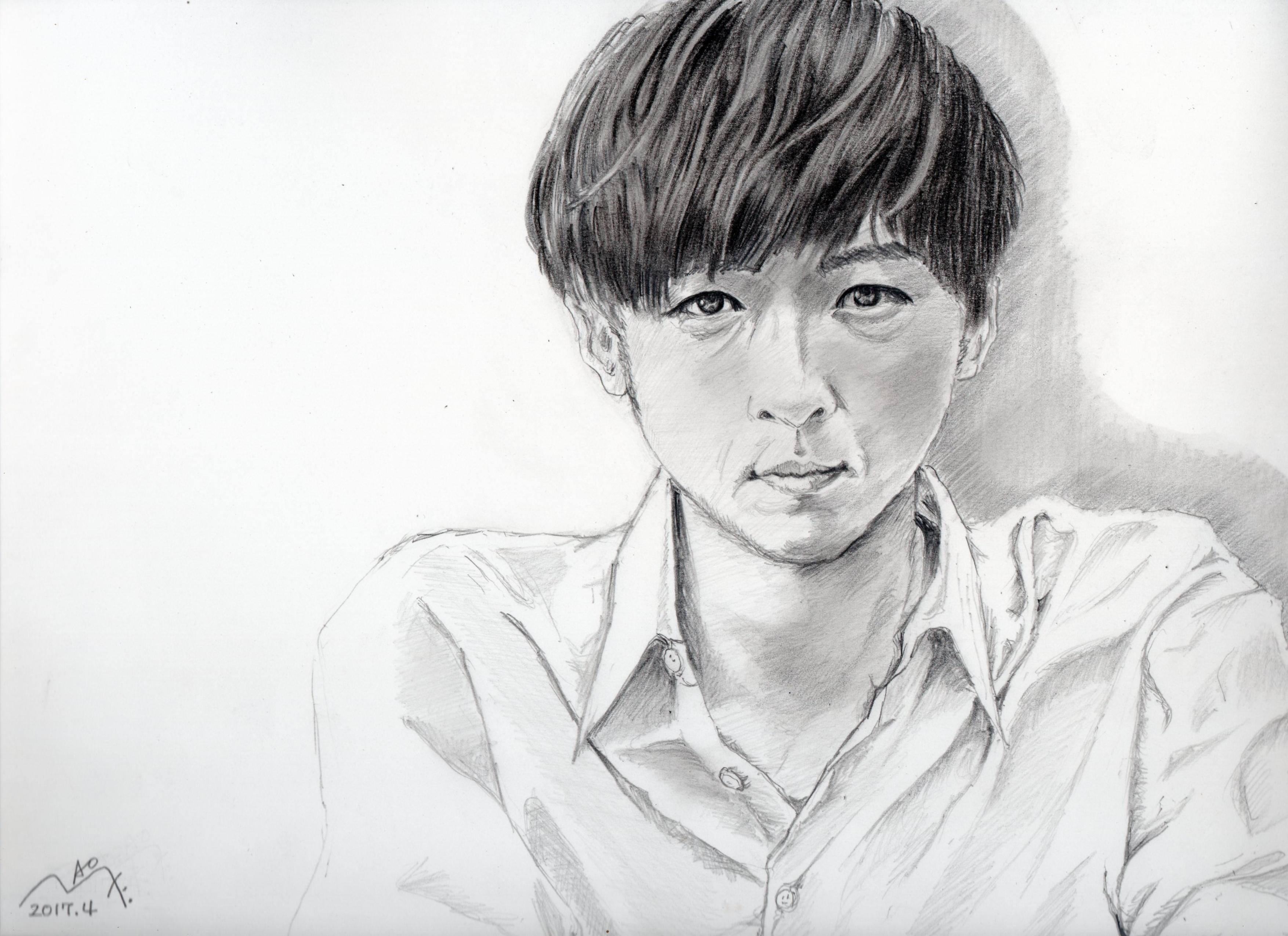 高橋一生の鉛筆画似顔絵