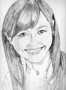 渡辺麻友の鉛筆画似顔絵修正前