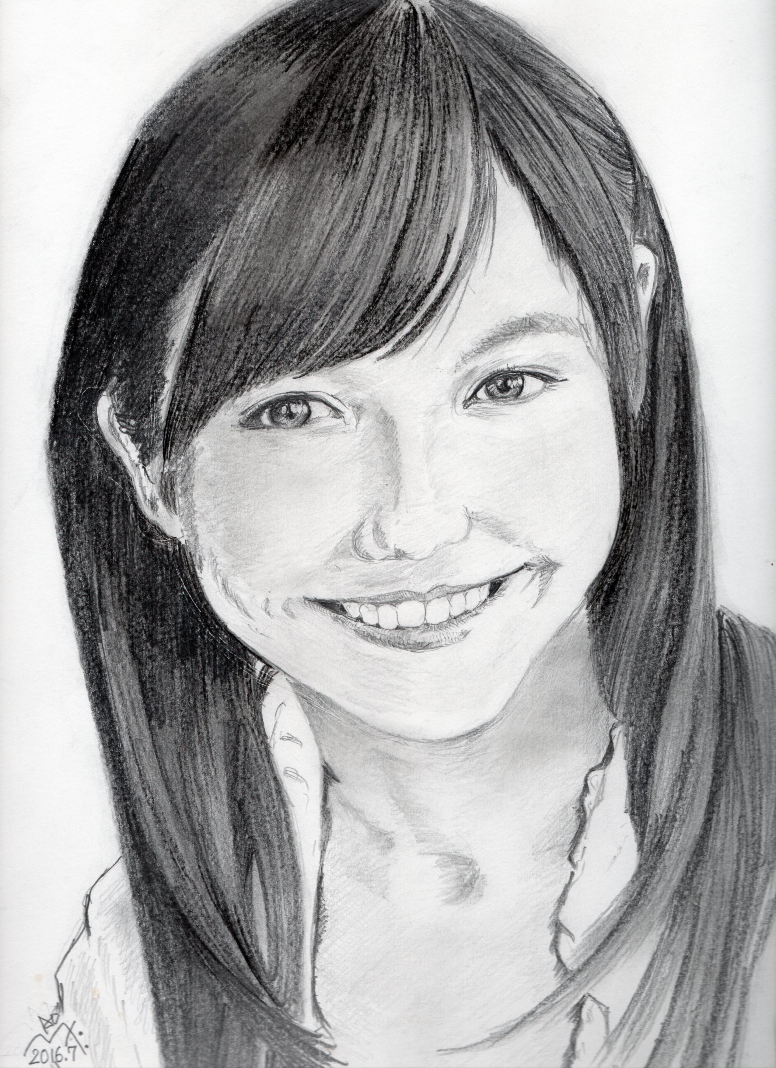 渡辺麻友の鉛筆画似顔絵