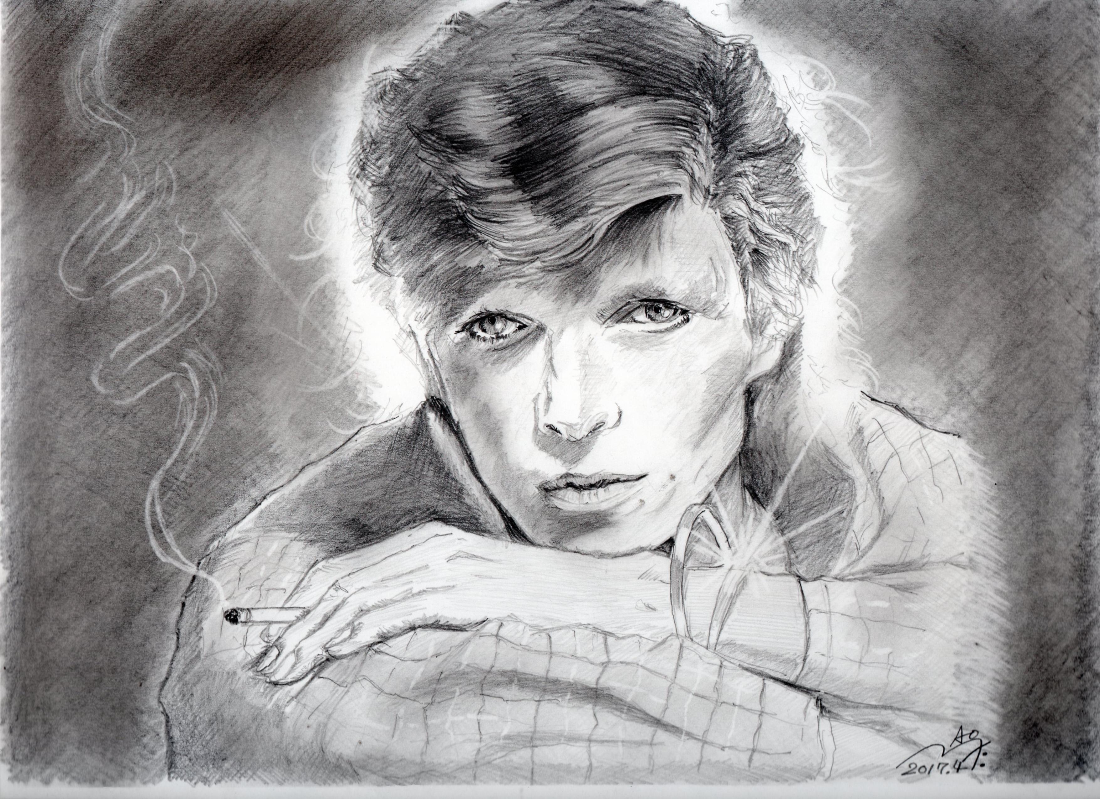 デヴィッド・ボウイの鉛筆画似顔絵
