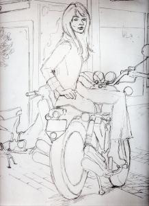 フランソワーズ・アルディ鉛筆画似顔絵途中経過