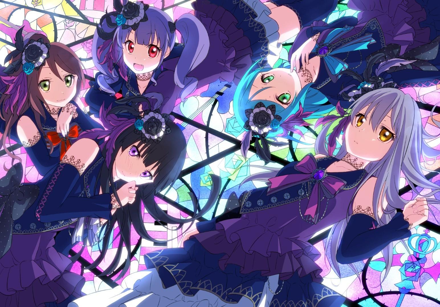 紫の衣装のバンドリ壁紙