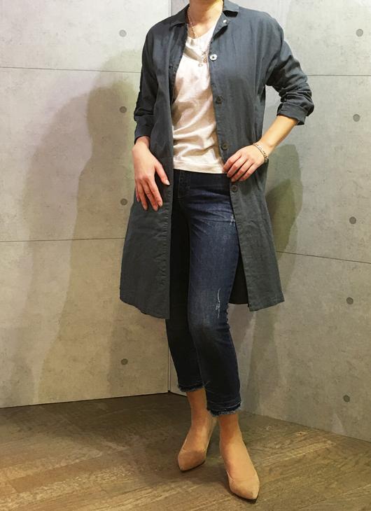 ヨシコンドウの綿麻のドルマンスリーブコート