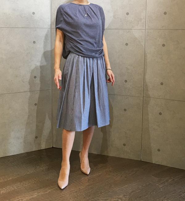 ヴィンスのストライプのギャザースカート