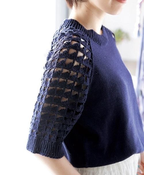 1720ピエロさわやかコットンラグラン袖の透かし編みセーター2