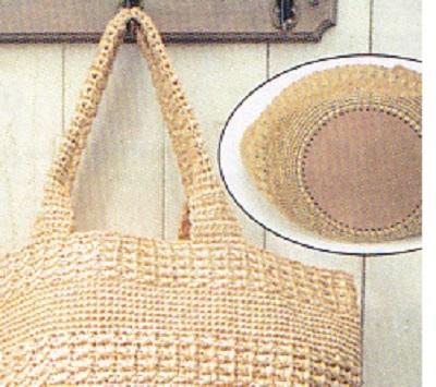 1726エコアンダリヤ模様編みのボーダーバッグ2