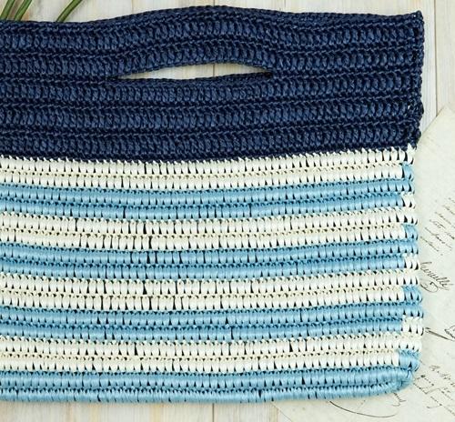 1728エコアンダリヤ包み編みのラインボーダークラッチ