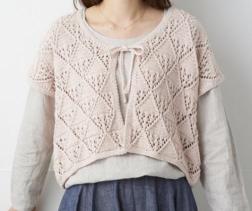 編み物キットハマナカポーム彩土染め透かし模様のリボンつきカーディ