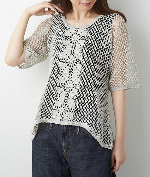 編み物キットかぎ針編みフラックスCモチーフ使いのネット編み半袖プル