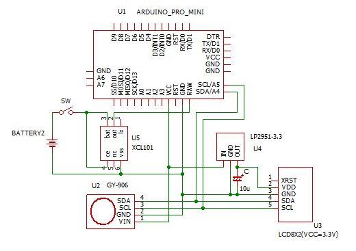MLX90614ケース入れ回路図