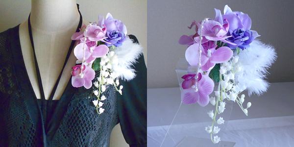 結婚式コサージュ・ラベンダー胡蝶蘭とすずらんで優雅に