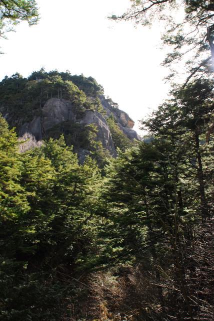 瑞牆山_不動沢から岩のピークを見上げる