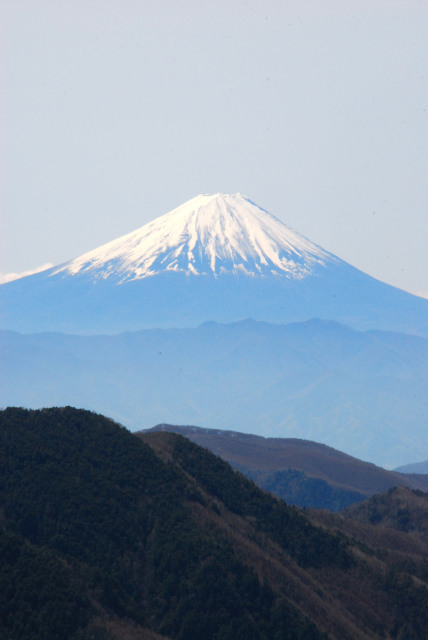 瑞牆山の山頂から富士山のアップ