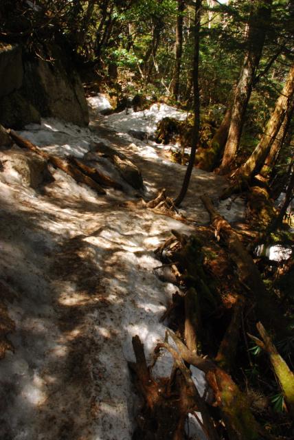 瑞牆山_踏み固められた雪が滑りやすく危険