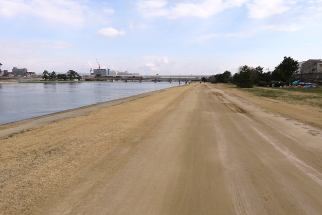 武庫川の河川敷_平坦な土の道