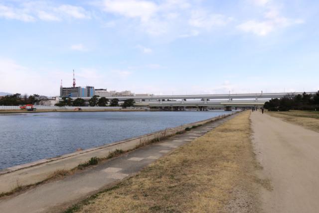 武庫川の河川敷と交差する阪神高速