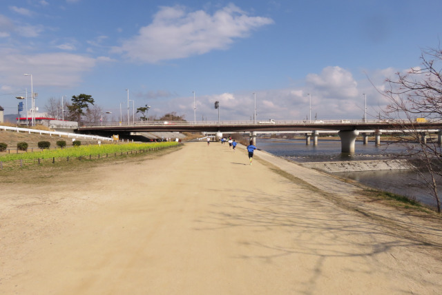 武庫川の河川敷をランニングする中学生陸上部