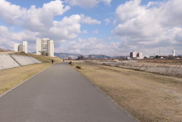 武庫川河川敷_宝塚市役所の近く_真っ直ぐな舗装路