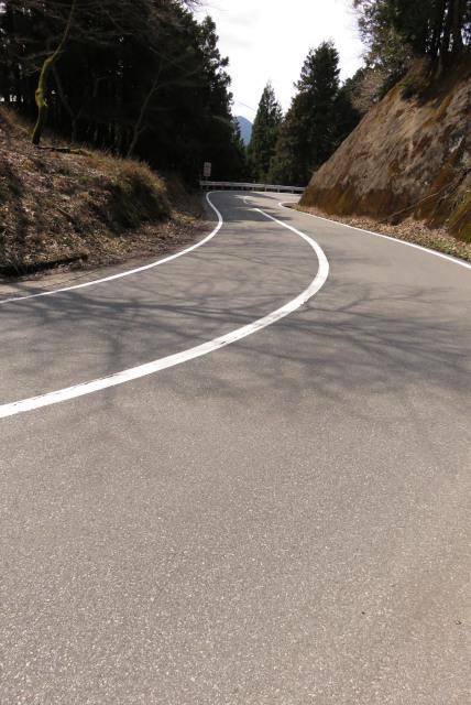 遠坂峠の車道を駆け下る
