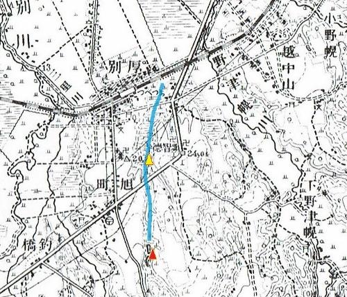 大正5年地形図 現在の厚別西通り