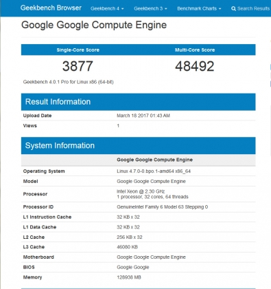 32-core Skylake Xeon (2017年3月21日)