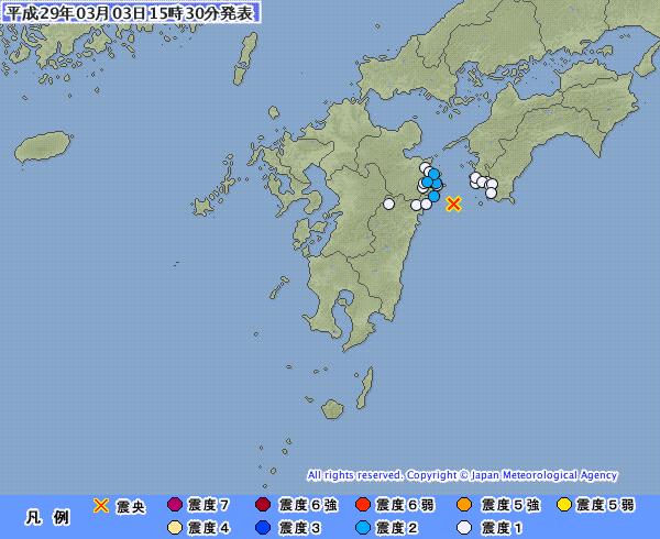 3月3日も「日向灘」で震度2が1回、北海道・根室半島南東沖では震度3の地震が発生