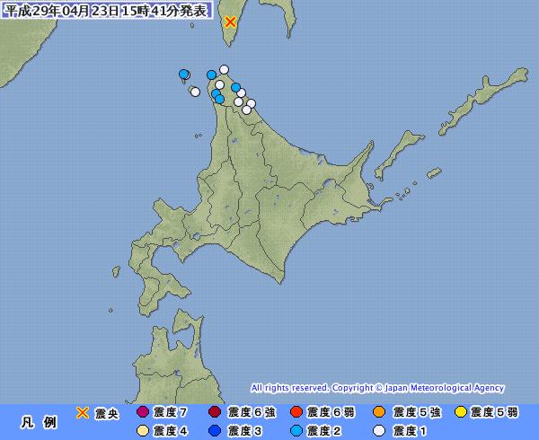 【珍しい】サハリン南部の震源での地震 M5.2 深さ約10km