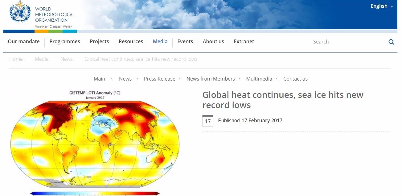 WMO(世界気象機関)「北極海の氷が観測史上最少になった」