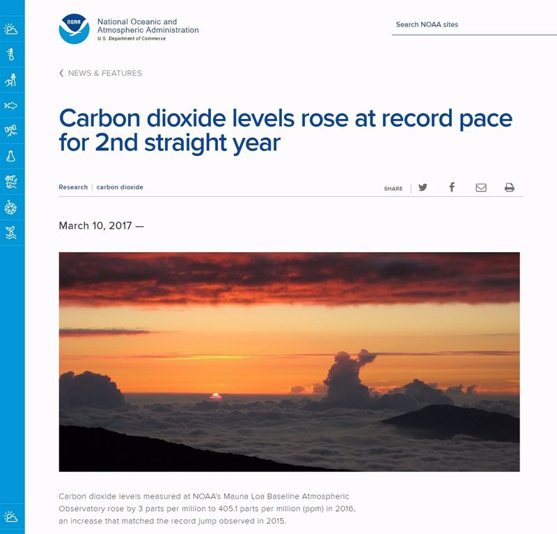 【CO2】2016年の大気中「二酸化炭素」濃度が史上最高に…アメリカ海洋大気局(NOAA)が発表、今年はさらに上昇中