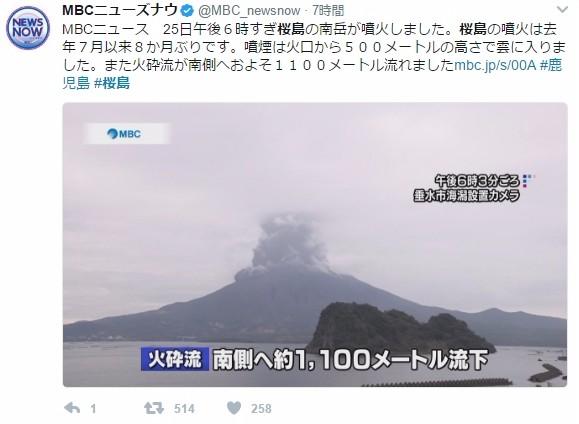 【火山】桜島が「8ヶ月ぶり」に爆発的噴火…約500メートルの噴煙を上げる