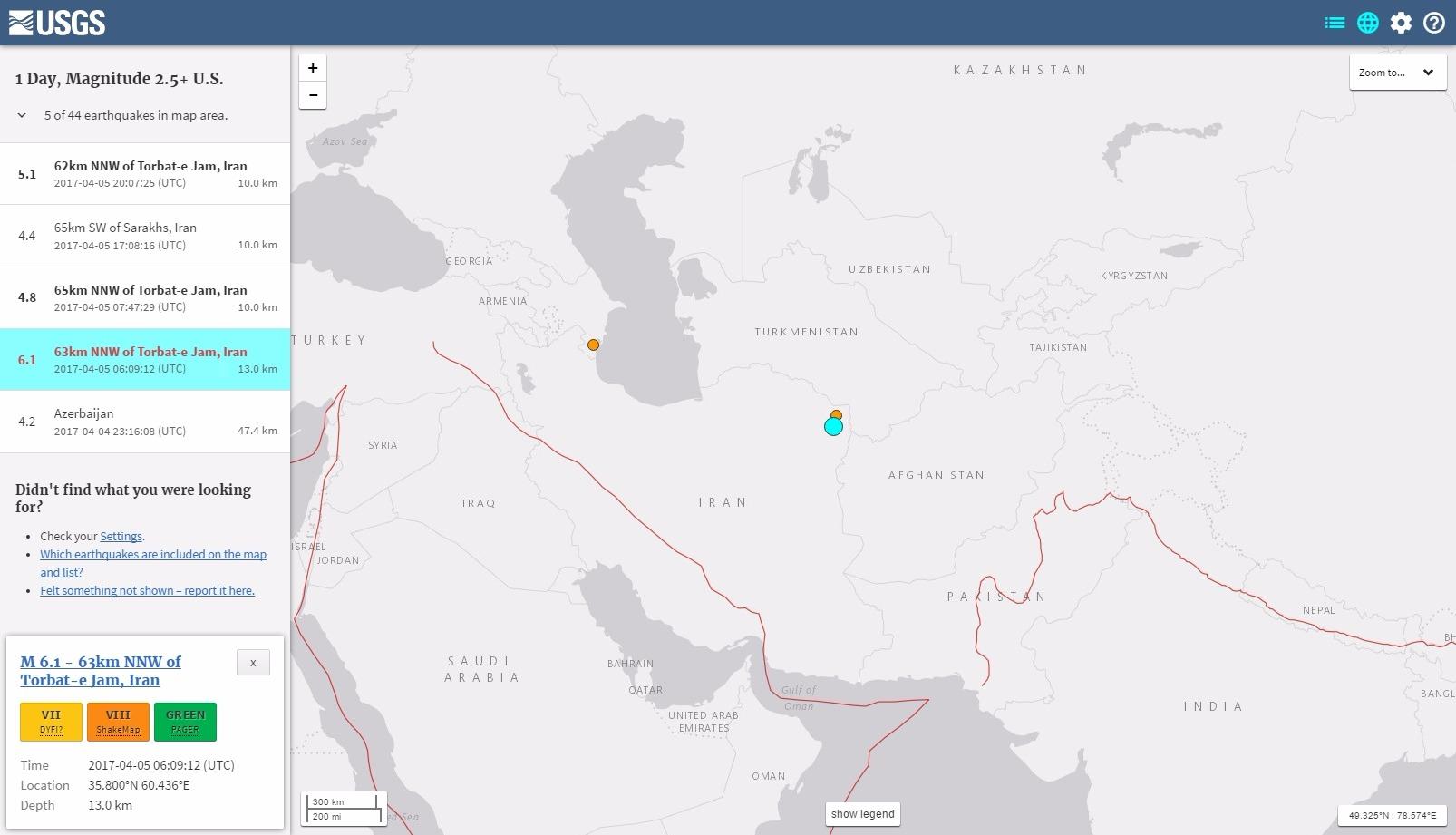 【USGS】イランでM6.1の地震発生…M5クラスの余震も相次ぐ