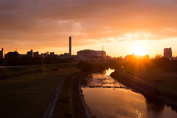 矢田川と夕陽