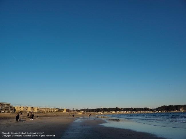 鎌倉由比ヶ浜海岸の夕方