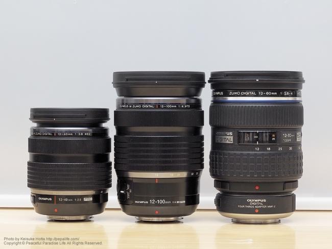 12-100mmF4.0と12-40mmF2.8と12-60mmF2.8-4.0の大きさ比較1