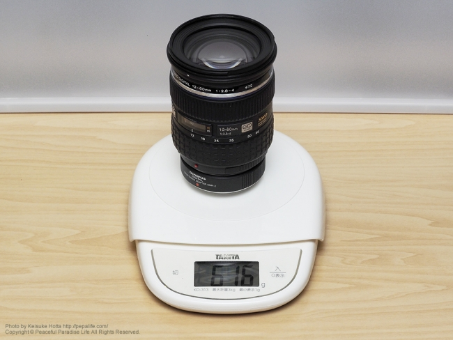 12-60mmF2.8-4.0の重さ