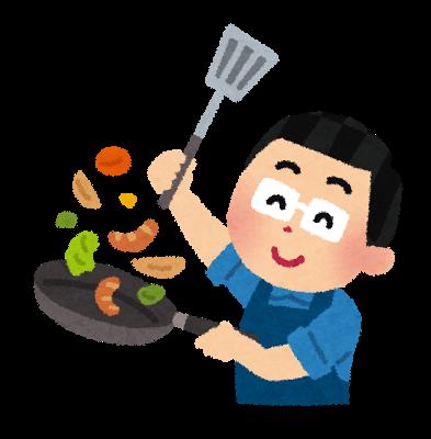 料理、クッキング、おっさん